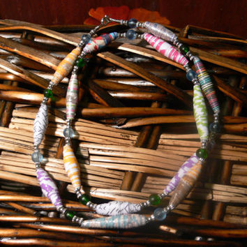 Handmade paper beads necklace with silver beads