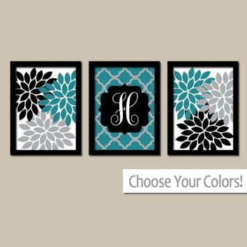 Teal Black Wall Art, Flower Wall Art, Bedroom Canvas or Prints Quatrefoil Bathroom Decor  Home Entry Way Wall Art, Set of 3 Wedding Gift