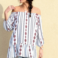 Carnival Ride Tribal Print Drop Waist Tunic Top With Off The Shoulder Sleeves