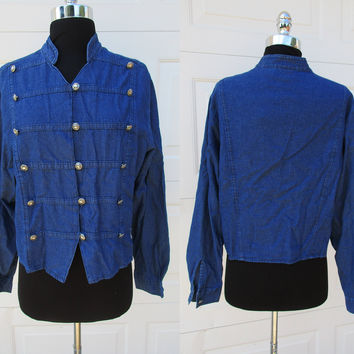 Military Style Denim Shirt Triple Button Front Pleated Ozark Mountain Jean Company Denim Shirt With Tags Sz L