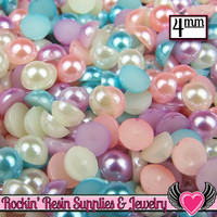 200pc 4mm PASTEL MIX Half Pearls (Aqua, White, Pink, & Lavender)