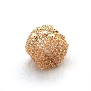 Wire crochet gold band ring sporadic gold filled beads
