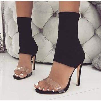 Black High Heel Pointed Toe Stretch Sandals