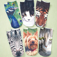 Six Pair Women's Photo Realistic Socks.  Animal Style.
