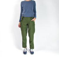 1974 Military Cargo Pants / Unisex High Waisted Khaki Army Pants
