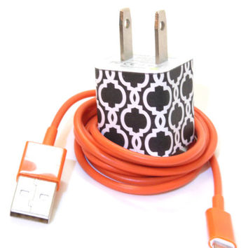 iPhone Charger Embellished with Black and White Print Pattern- USB Cable Included