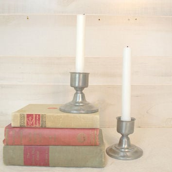 Pair of Pewter Candle Holders, Hurricane Candlestick Lanterns, Silver Metal Candlesticks