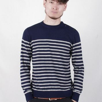 Autumn Men's clothing Striped Button Design O-Neck Long Sleeve Knitted Pullovers Sweater Coat Male Casual