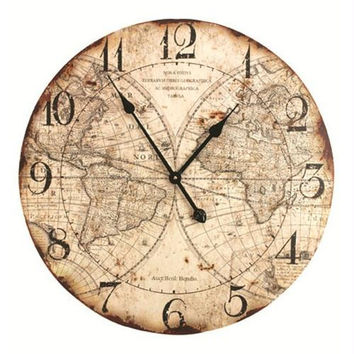 Wall Clock - World Map Motif