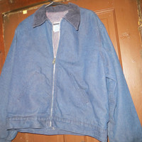 vintatge   Sears  blanket lined denim  corduroy collar  work jacket sz large