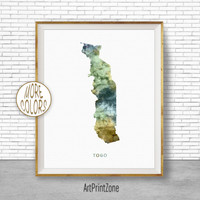 Togo Art, Travel Map, Togo Map Art, Travel Decor, Travel Prints, Living Room Wall Art, Office Pictures, Art Print Zone