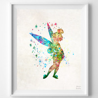 Tinker Bell Print, Peter Pan Watercolor Art, Disney Poster, Playroom Wall Art, Dorm Room Art, Nursery Art, Baby Room, Halloween Decor