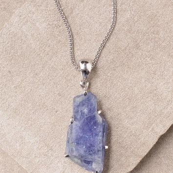 Tanzanite Pendant Necklace - One Of A Kind - 24 inch Silver Chain