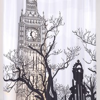 Big Ben Print Fabric Shower Curtain