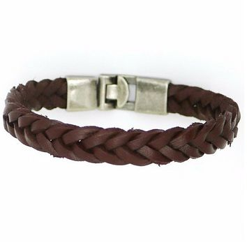 Brown Leather Mens Braided Bracelet