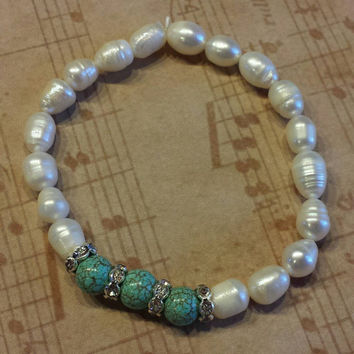 Handmade Cultured White Freshwater Pearls and Turquoise Magnesite Gemstone Beads Stretch Bracelet with Crystal Rondelles