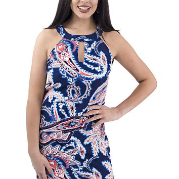 Women's Paisley Printed Shift Dress with Keyhole Neckline