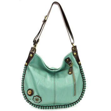 Large Charming Convertible Hobo - Blue,Teal, Orange + Free Key fob/ Coin Purse