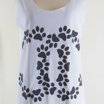 Chanel Shirt -- Large Chanel Dog Footprints Shirt Chanel Cat Footprints Shirt Funny T-Shirt Women T-Shirt Tank Top Tunic White Shirt Size M