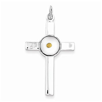 Sterling Silver Polished & Epoxy Cross With Mustard Seed Pendant, Best Quality Free Gift Box Satisfaction Guaranteed
