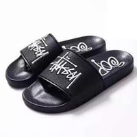 Stussy Women Men Fashion Leather Slipper Sandals Shoes