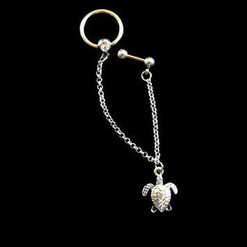 Turlte Cartilage Earring With Chain and Captive Ring
