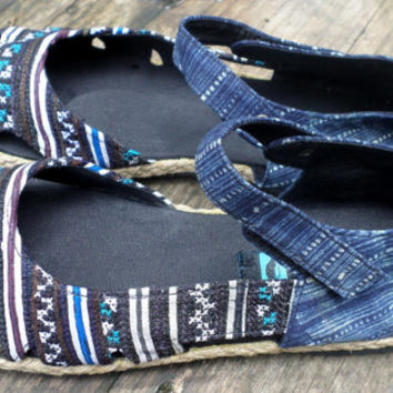 Womens Shoes Mary Jane Hmong Embroidery And Indigo Batik Aqua Vegan Espadrille