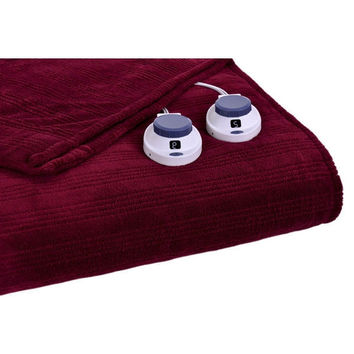 King Size Ribbed Warming Electric Heated Blanket in Garnet Red