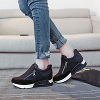 Women's Thick Soled Two-Toned Zippered Tennis Shoes
