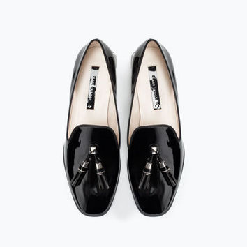 Summer Flat Metal With Heel Square Toe Tassels Shoes [4918359236]