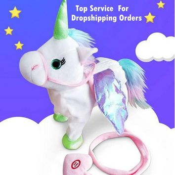 DROPSHIPPIN Electric Walking Unicorn Plush Toy Stuffed Animal Toy Electronic Music Unicorn Toy for Children Christmas Gifts 35cm