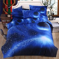 3D Blue Sky Bed Sheet Set Pillowcase Planet Polyester/Cotton Duvet Cover Set Bed Linen Galaxy Bedding Set 3D Duvet Covers