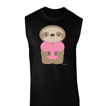 Cute Valentine Sloth Holding Heart Dark Muscle Shirt  by TooLoud