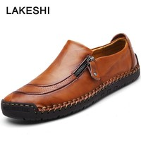 Men Casual Shoes Fashion Men Loafers High Quality Leather Shoes Genuine Leather Men Shoes Oxford Moccasins Shoes Plus Size 48