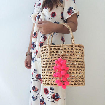 Straw Handbags / Pom pom Straw mini Bag / Straw bag / Woman Bag / Straw basket / Hand bags / Straw bags / Straw tote / Bridesmaids Gift