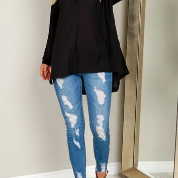 Black Plain Irregular V-neck Long Sleeve Fashion Blouse