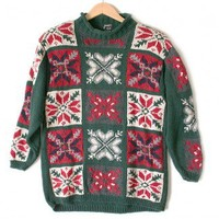 Shop Now! Ugly Sweaters: Snowflakes Oversized Slouch Chunky Knit Ugly Christmas Sweater Women's Size 14-16 (Large) L $20 - The Ugly Sweater Shop