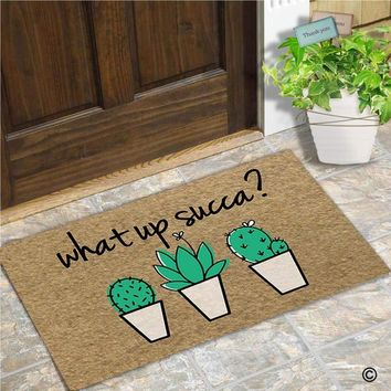Autumn Fall welcome door mat doormat Funny  Entrance Front  What Up Succa Home  Indoor Outdoor Decor   Rubber Backing Mat AT_76_7
