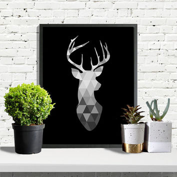 SAVE 50%, Scandinavian Print, Deer Head Print, Deer Poster, Geometric Art, Black And White Wall Art, Art Print, Poster, Scandinavian Style