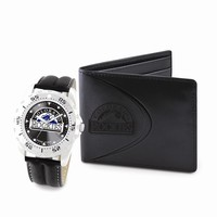 Mens MLB Colorado Rockies Watch & Wallet Set