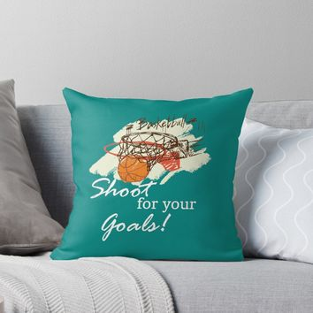 'Basketball Sports Shoot For Your Goal' Throw Pillow by freewayart