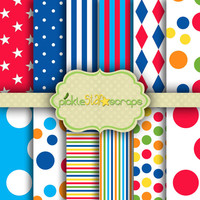Printable Craft Carnival Papers Circus Printable Carnival Backgrounds Circus Party Carnival Theme Circus 12x12 Circus Vol1 INSTANT DOWNLOAD