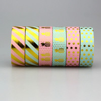 1Pc Pack Size 15 mm*10m Kawaii Scrapbooking Tools DIY Stripes Gold Pineapple & Dots Japanese Paper Foil Washi Tapes Masking Tape