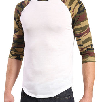 Mens 3/4 Sleeve Raglan Camo Crew Neck T Shirt