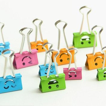 DIY Cute Kawaii Metal Binder Clips Lovely Expression Paper Clip for Photo Message Office accessories Korean Stationery 6608