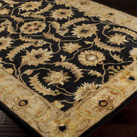 Ancient Treasures Area Rug   Black Classic Rugs Hand Tufted   Style A171