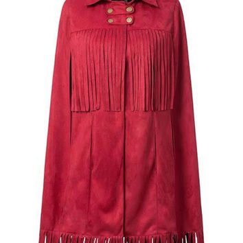 Red Lapel Faux Suede Tassel Poncho Coat