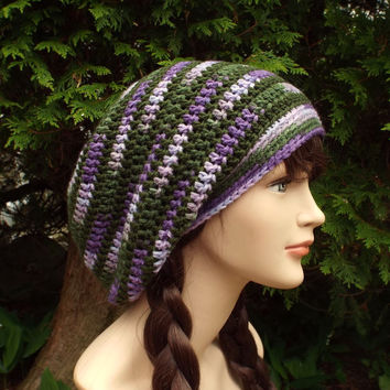 Green and Purple Stripe Slouch Beanie - Womens Slouchy Crochet Hat - Ladies Oversized Cap - Hipster Hat - Baggy Beanie