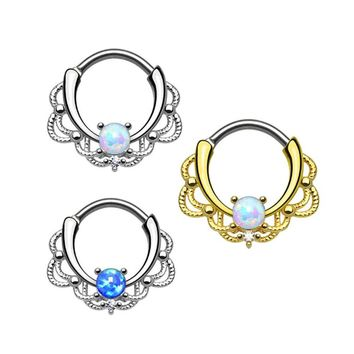 New Fashion Lacey Opal Gem Septum Ring Rook Clicker Nose Ring Titanium Shaft Body Piercing Jewelry