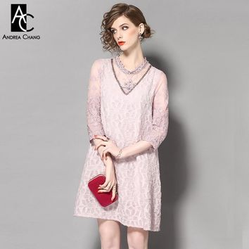 Spring summer runway designer woman dresses gray pink a-line dress beading flower embroidery lace collar sleeve vintage dress